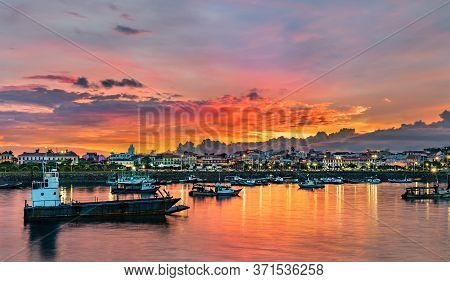 Panorama Of Casco Viejo, The Historic District Of Panama City At Sunset. Unesco World Heritage In Ce