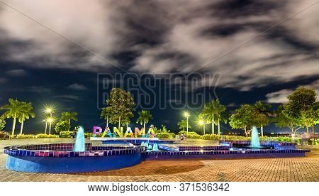 Panama Sign At Amador Causeway In Panama City, Central America