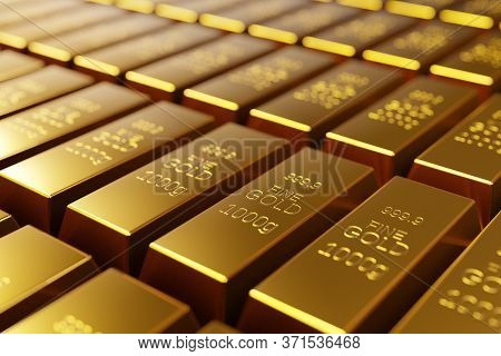Gold Bullion Bars, Precious Metal Investment As A Store Of Value. Digital 3d Render.