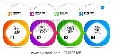 Report, Loyalty Points And Loyalty Tags Line Icons Set. Timeline Steps. Shopping Cart Sign. Presenta