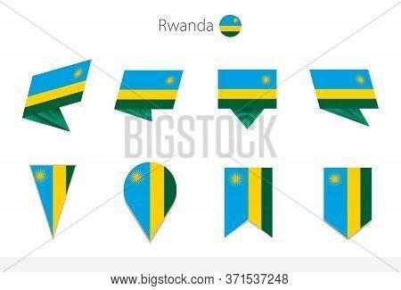 Rwanda National Flag Collection, Eight Versions Of Rwanda Vector Flags. Vector Illustration.