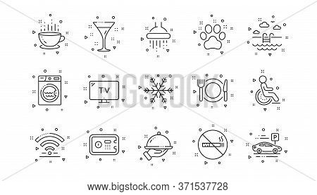 Wi-fi, Air Conditioning And Washing Machine. Hotel Service Line Icons. Pets, Swimming Pool And Hotel
