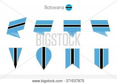 Botswana National Flag Collection, Eight Versions Of Botswana Vector Flags. Vector Illustration.