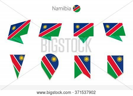 Namibia National Flag Collection, Eight Versions Of Namibia Vector Flags. Vector Illustration.