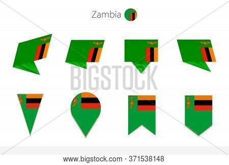 Zambia National Flag Collection, Eight Versions Of Zambia Vector Flags. Vector Illustration.