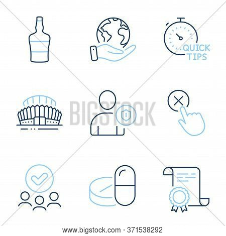 Reject Click, Medical Drugs And Quick Tips Line Icons Set. Diploma Certificate, Save Planet, Group O