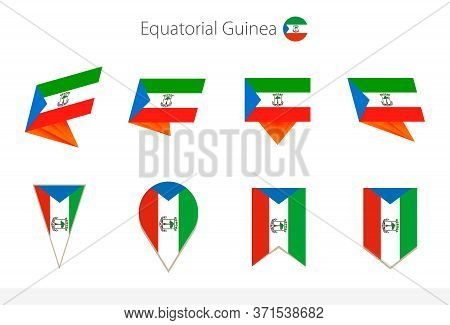 Equatorial Guinea National Flag Collection, Eight Versions Of Equatorial Guinea Vector Flags. Vector