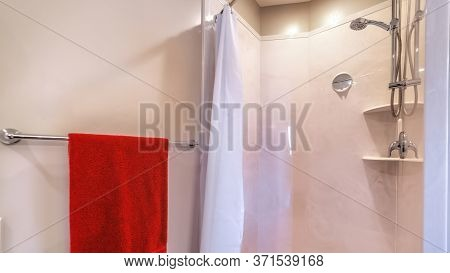 Panorama Frame Shower Area With Stainless Steel Shower Head Tile Wall Curtain Mirror And Racks