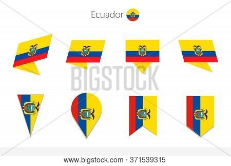 Ecuador National Flag Collection, Eight Versions Of Ecuador Vector Flags. Vector Illustration.