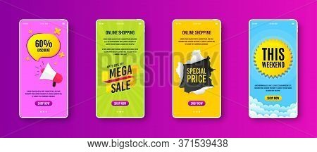 Mega Sale Badge. Phone Screen Banner. Discount Banner Shape. Coupon Tag Icon. Sale Banner On Smartph