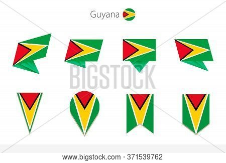 Guyana National Flag Collection, Eight Versions Of Guyana Vector Flags. Vector Illustration.