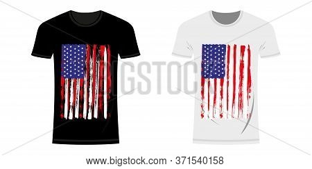 Graphic Design T-shirt With Usa And New York Flag And Grunge Texture. Usa And New York Typography De