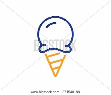 Ice Cream Line Icon. Vanilla Sundae Cone Sign. Frozen Summer Dessert Symbol. Colorful Thin Line Outl