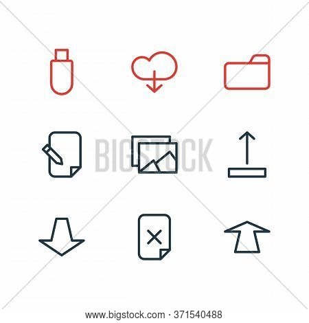 Vector Illustration Of 9 Memory Icons Line Style. Editable Set Of Push, Folder, Memory And Other Ico