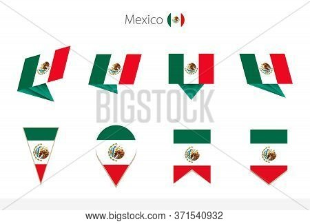 Mexico National Flag Collection, Eight Versions Of Mexico Vector Flags. Vector Illustration.