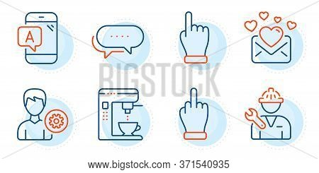 Repairman, Love Mail And Dots Message Signs. Ab Testing, Support And Coffee Maker Line Icons Set. Cl
