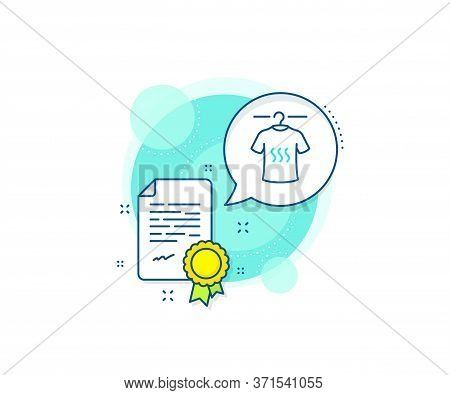 Laundry Shirt Sign. Certification Complex Icon. Dry T-shirt Line Icon. Clothing Cleaner Symbol. Cert