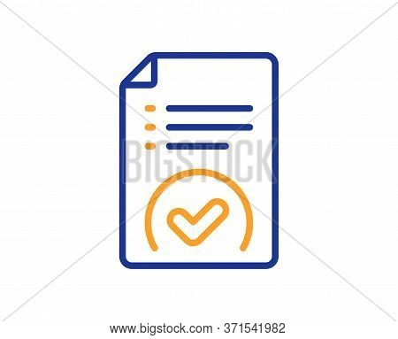 Approved Document Line Icon. Accepted File Sign. Verification Symbol. Colorful Thin Line Outline Con