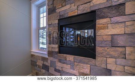 Panorama Crop Fireplace Mounted Inside Decorative Wall Interior Brick