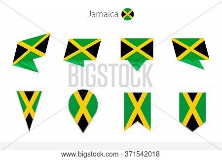 Jamaica National Flag Collection, Eight Versions Of Jamaica Vector Flags. Vector Illustration.