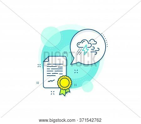 Bad Weather Sign. Certification Complex Icon. Clouds With Raindrops, Lightning, Wind Line Icon. Cert