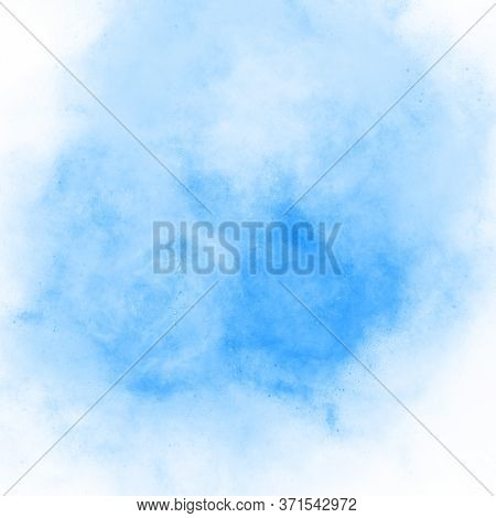 Gentle Spot Of Blue Watercolor Paint Hand Drawn. Beautiful Abstract Watercolor Background, Blot Stai