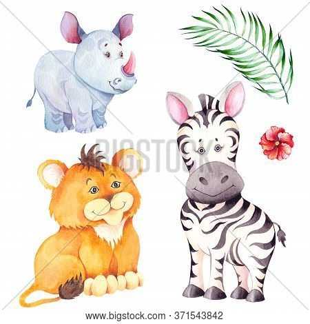 Little Lion, Zebra And Rhino Cubs. Cartoon African Animal Characters. Watercolor Illustration Isolat