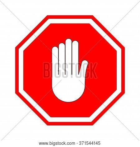 Stop Sign. Red Prohibitive Sign With Human Hand In The Shape Of An Octagon. Stop The Gesture With Yo