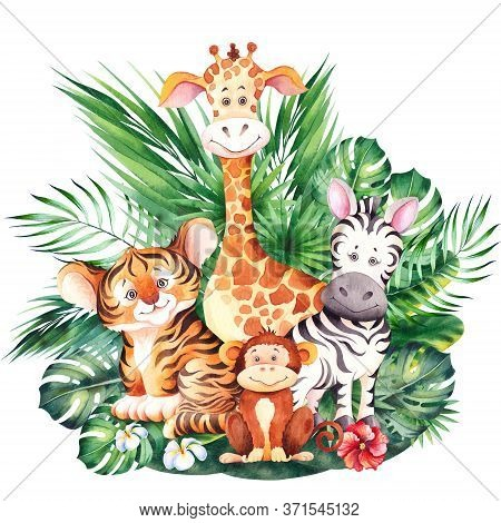 Cute Giraffe, Zebra, Tiger And Monkey Cubs. African Cartoon Animals. Watercolor Illustration Isolate