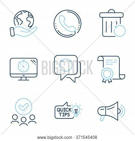 Recovery Data, Megaphone And Education Idea Line Icons Set. Diploma Certificate, Save Planet, Group