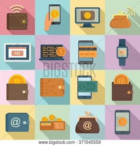 Digital Wallet Icons Set. Flat Set Of Digital Wallet Vector Icons For Web Design