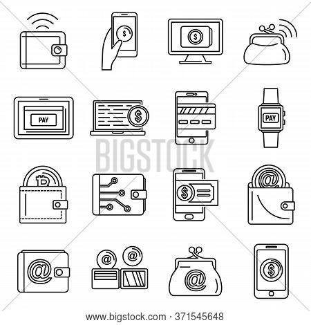 Modern Digital Wallet Icons Set. Outline Set Of Modern Digital Wallet Vector Icons For Web Design Is