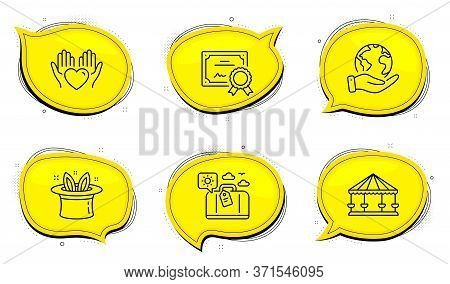 Carousels Sign. Diploma Certificate, Save Planet Chat Bubbles. Hold Heart, Hat-trick And Travel Lugg