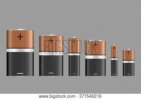 Vector Battery, Different Size, Isolated On Gray Background. Battery Sizes Or Styles, Various Electr