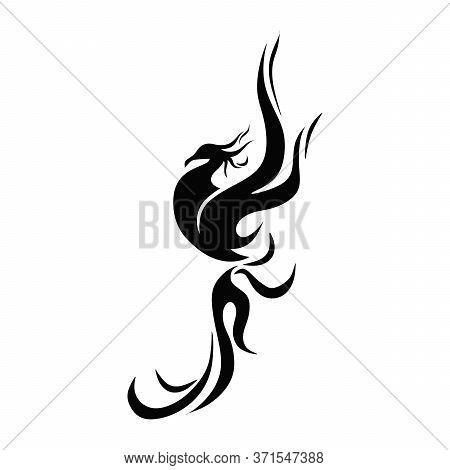 Phoenix Fire Vector Logo. Chinese Culture Symbol. Hot Flame Phoenix. Fire Burning Animal Body