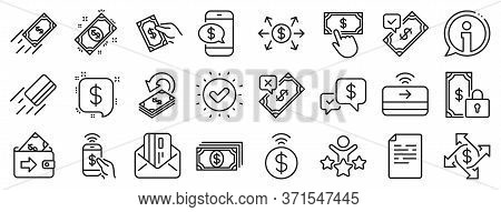Set Of Accept Money Transfer, Pay With Phone And Credit Card By Mail Icons. Payment Wallet Line Icon