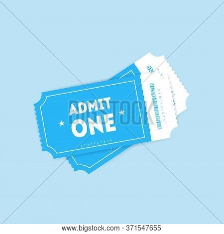Two Flat Vector Tickets With Shadows Isolated On Blue Background. Front View Template For Advertisin
