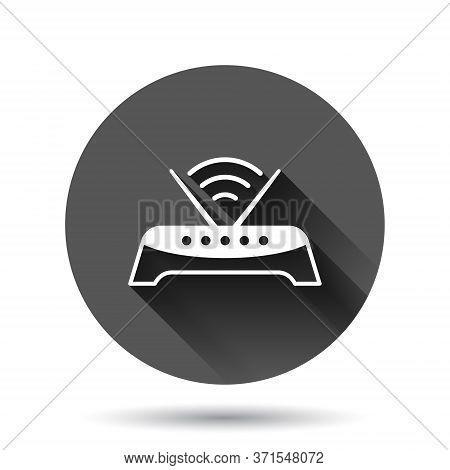 Wifi Router Icon In Flat Style. Broadband Vector Illustration On Black Round Background With Long Sh