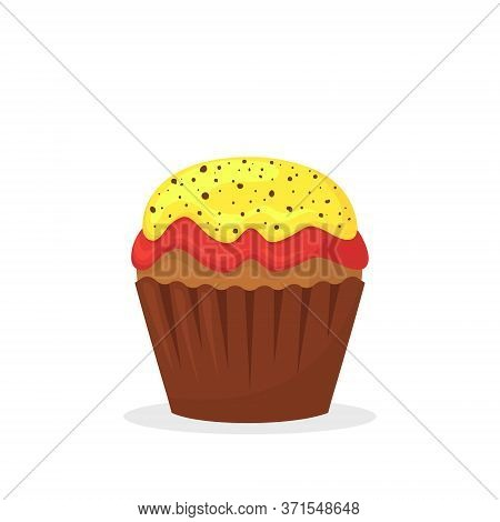 Chocolate Muffin With Yellow And Red Cream. Sweet Food, Cupcake With Frosting Flat Vector Icon