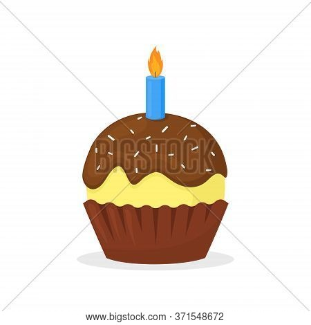 Muffin With Chocolate Froasting And Candle. Sweet Food, Holiday Or Birth Day Cupcake Flat Vector Ico