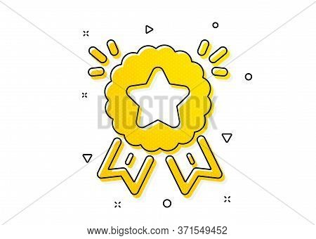Winner Medal Sign. Ranking Star Icon. Best Rank Symbol. Yellow Circles Pattern. Classic Ranking Star
