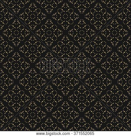 Golden Vector Minimalist Seamless Pattern. Subtle Gold And Black Minimal Geometric Texture With Smal