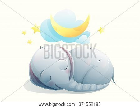 Baby Elephant Sleeping On The Moon, Good Night And Happy Dreams Card Design For Children. Dreamy Ado