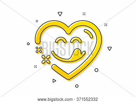 Emoticon With Tongue Sign. Yummy Smile Icon. Comic Heart Symbol. Yellow Circles Pattern. Classic Yum