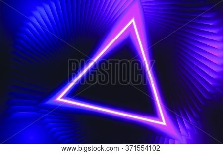 Futuristic Abstract Colorful Vector Background With Glowing Electric Bright Neon Lines . Modern Geom