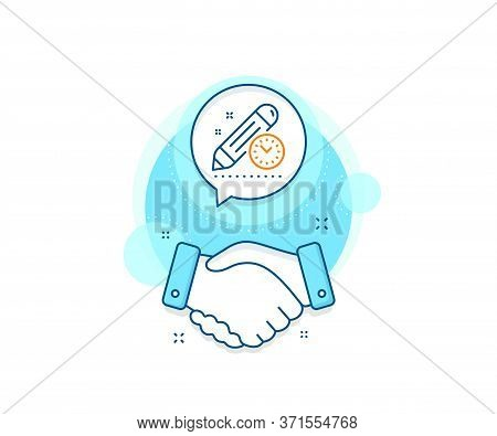 Time Management Sign. Handshake Deal Complex Icon. Project Deadline Line Icon. Clock Symbol. Agreeme
