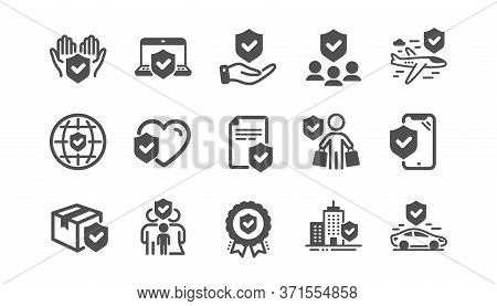 Insurance Icons Set. Health Care, Car Accident, Risk Service. Care Insurance, Flight Protection Icon