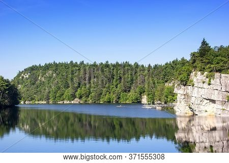 Scenic View Of Mohonk Lake In The Shawangunk Mountains In Upstate New York