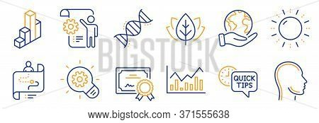 Set Of Science Icons, Such As Cogwheel, Settings Blueprint. Certificate, Save Planet. Chemistry Dna,