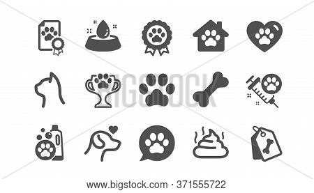 Pets Icons Set. Dog Care, Veterinary And Cat Food. Lovely Animals, Shampoo For Pets And Doghouse Ico
